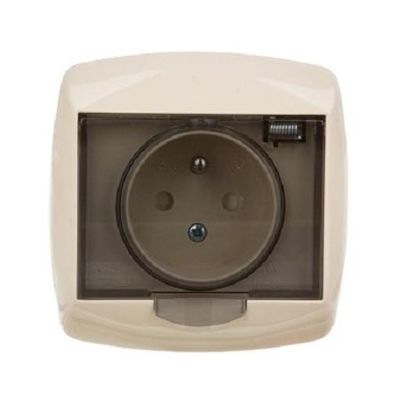 Gniazdo hermetyczne z klapką przydymioną Schneider Bingo GWP132PB62 beżowe