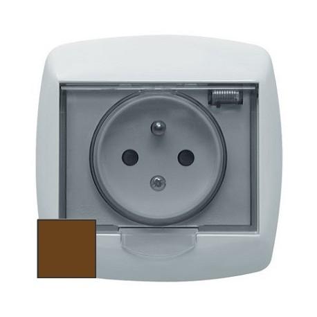 Gniazdo hermetyczne z klapką przydymioną Schneider Bingo GWP132PB96 brązowe
