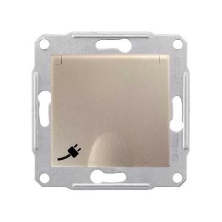 Gniazdo pojedyncze hermetyczne z/u z klapką Schneider Sedna IP44 SDN2800368 satyna