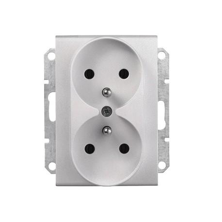 Gniazdo podwójne z/u b/ramki Schneider Sedna SDN2800960 aluminium