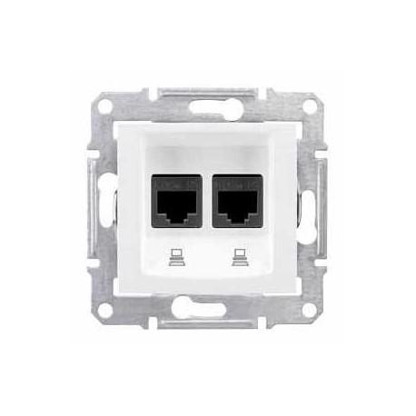 Gniazdo komputerowe podwójne kat. 5e ekran. Schneider Sedna SDN4600121 biały