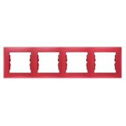 Ramka 4-krotna pozioma Schneider Sedna SDN5800741 czerwony