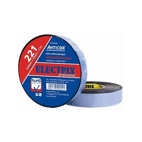 Taśma elektroinstalacyjna polietylenowo-butylokauczukowa Anticor dwustronnie przylepna 19 mm x 7,5 m