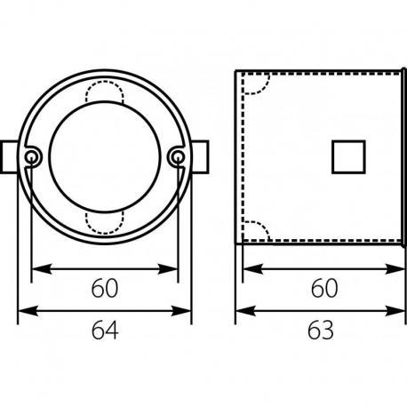 PKz-Ø 60 x60ep puszka instal .łączona głeboka bez wkrętów