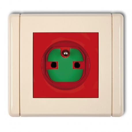 Karlik Gniazdo pojedyncze z uziemieniem 2P+Z DATA z kluczem FLEXI czerwony