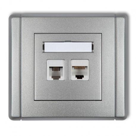 Gniazdo telefoniczne pojedyncze 1xRJ11 + komputerowe pojedyncze 1xRJ45, kat. 5e, 8-stykowe, beznarzędziowe