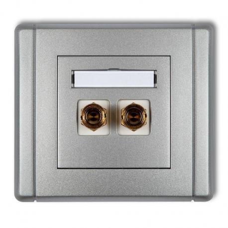 Karlik Gniazdo głośnikowe pojedyncze (typu banan - czerwony i czarny, pozłacane, 4 mm2, do lutowania) FLEXI srebrny metalik