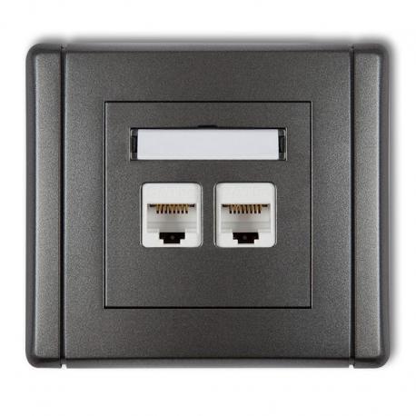 Gniazdo komputerowe podwójne 2xRJ45, kat. 6, 8-stykowe
