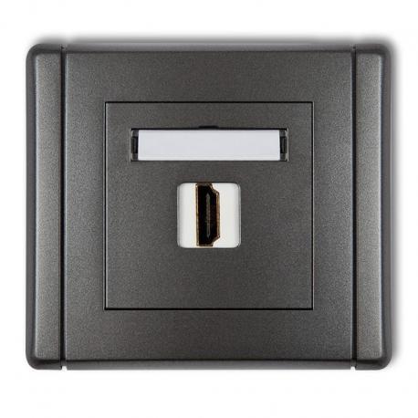 Karlik Gniazdo pojedyncze HDMI FLEXI grafitowy