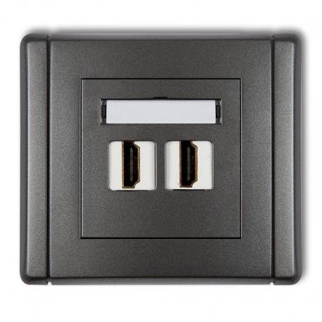 Karlik Gniazdo podwójne HDMI FLEXI grafitowy