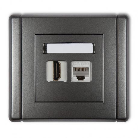 Gniazdo pojedyncze HDMI + gniazdo komp. poj. 1xRJ45, kat. 5e, 8-stykowe