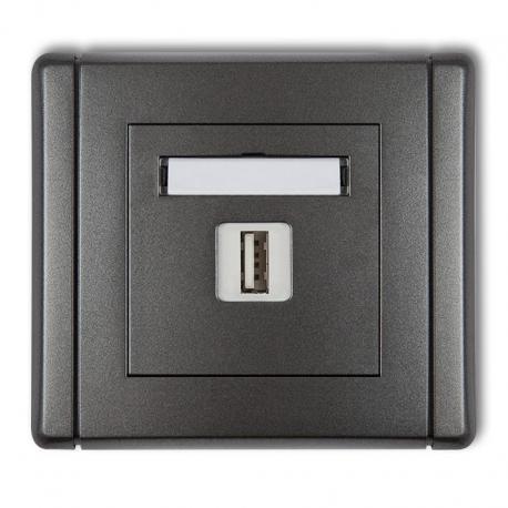 Karlik Gniazdo pojedyncze USB-AA 2.0 FLEXI grafitowy