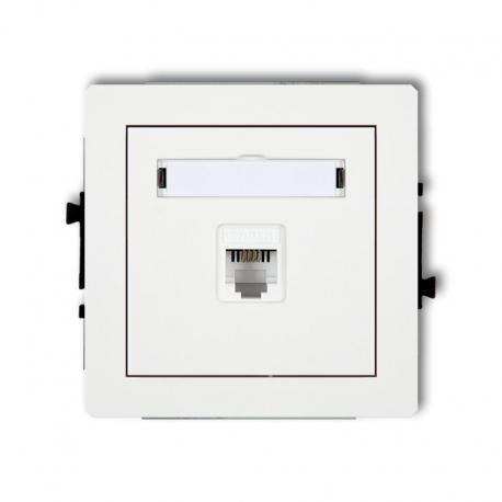 Karlik DECO Mechanizm gniazda telefonicznego pojedynczego 1xRJ11, 4-stykowy, beznarzędziowe biały DGT-1