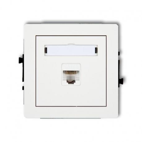 Karlik DECO Mechanizm gniazda multimedialnego podwójnego bez modułu (standard Keystone) biały DGM-2P