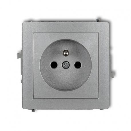 Karlik DECO Mechanizm gniazda pojedynczego z uziemieniem 2P+Z (przesłony torów prądowych) srebrny metalik 7DGP-1zp