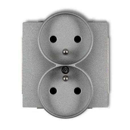 gniazdo podwójne, seria DECO, kolor srebrny metalik (317