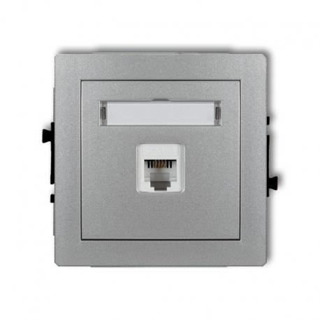 Karlik DECO Mechanizm gniazda telefonicznego pojedynczego 1xRJ11, 4-stykowy, beznarzędziowe srebrny metalik 7DGT-1