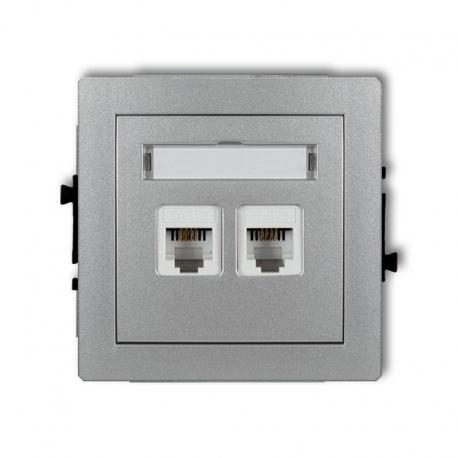 Karlik DECO Mechanizm gniazda telefonicznego podwójnego 2xRJ11, 4-stykowy, beznarzędziowe srebrny metalik 7DGT-2