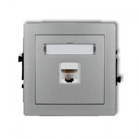 Karlik DECO Mechanizm gniazda komputerowego pojedynczego 1xRJ45, kat. 5e, ekranowane, 8-stykowy srebrny metalik 7DGK-1e