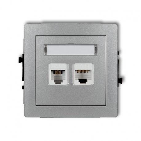 gniazdo telefoniczne i komputerowe, seria Deco, kolor srebrny metalik (344