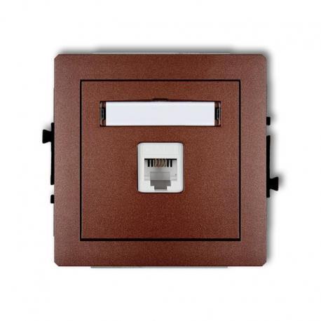 Karlik DECO Mechanizm gniazda telefonicznego pojedynczego 1xRJ11, 4-stykowy, beznarzędziowe brązowy metalik 9DGT-1