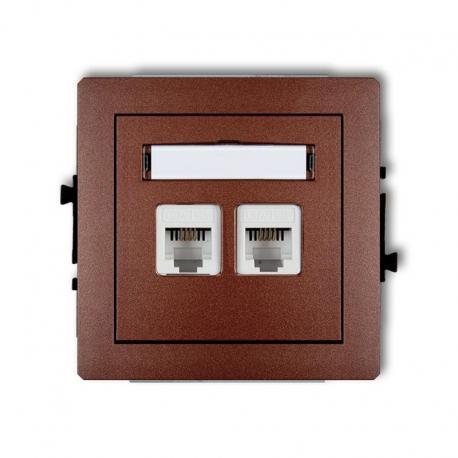 Karlik DECO Mechanizm gniazda telefonicznego podwójnego 2xRJ11, 4-stykowy, beznarzędziowe brązowy metalik 9DGT-2
