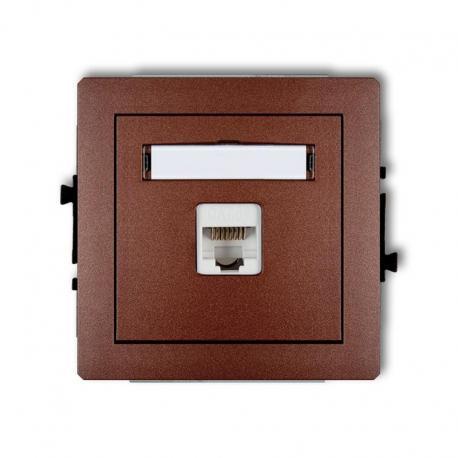 Karlik DECO Mechanizm gniazda komputerowego pojedynczego 1xRJ45, kat. 6, ekranowane, 8-stykowy brązowy metalik 9DGK-5
