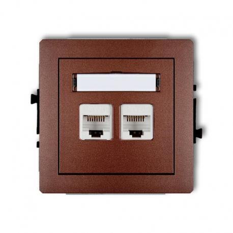 Karlik DECO Mechanizm gniazda komputerowego podwójnego 2xRJ45, kat. 6, ekranowane, 8-stykowy brązowy metalik 9DGK-6