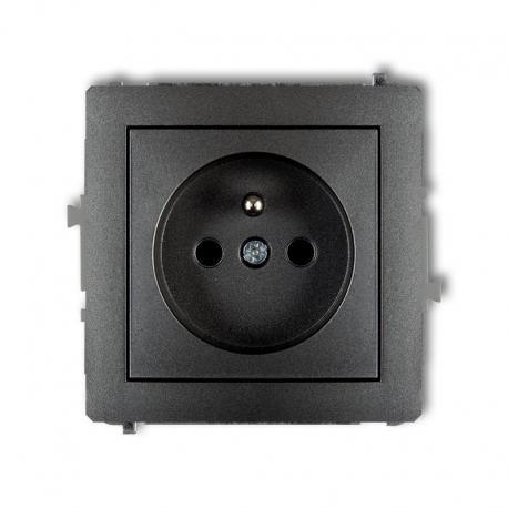 Karlik DECO Mechanizm gniazda pojedynczego z uziemieniem 2P+Z (przesłony torów prądowych) grafitowy 11DGP-1zp