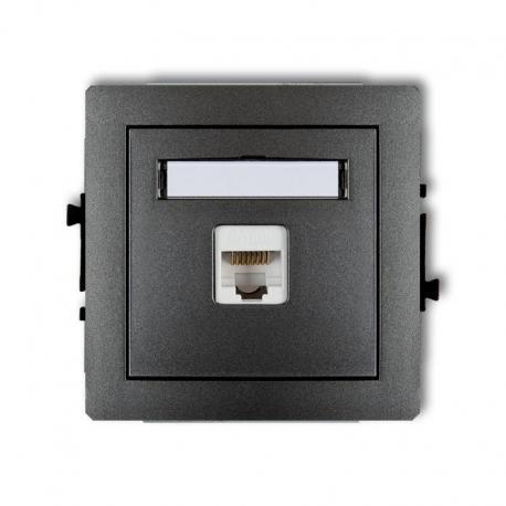 Karlik Mechanizm gniazda komputerowego pojedynczego 1xRJ45, kat. 6, ekranowane, 8-stykowy DECO grafitowy