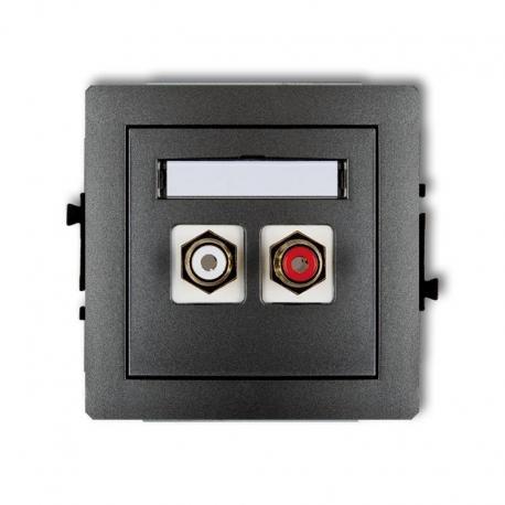Karlik Mechanizm gniazda podwójnego RCA (typu cinch - biały i czerwony, pozłacany) DECO grafitowy