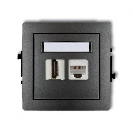 Karlik Mechanizm gniazda pojedynczego HDMI + gniazda komp. poj. 1xRJ45, kat. 5e, 8-stykowy DECO grafitowy