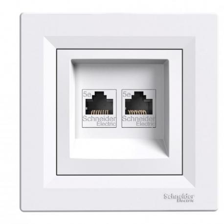 Asfora - Gniazdo komputerowe 2x RJ45 kat.5e UTP biały