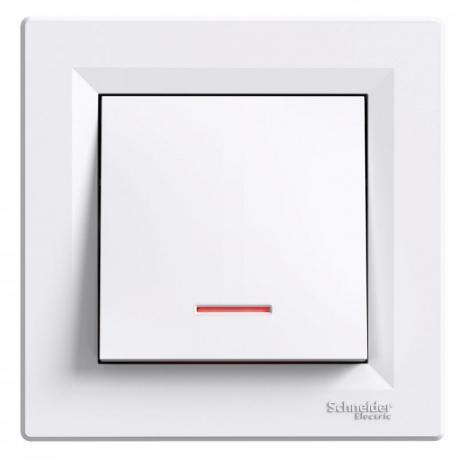 Asfora - Przycisk z podświetleniem (zaciski śrubowe) biały