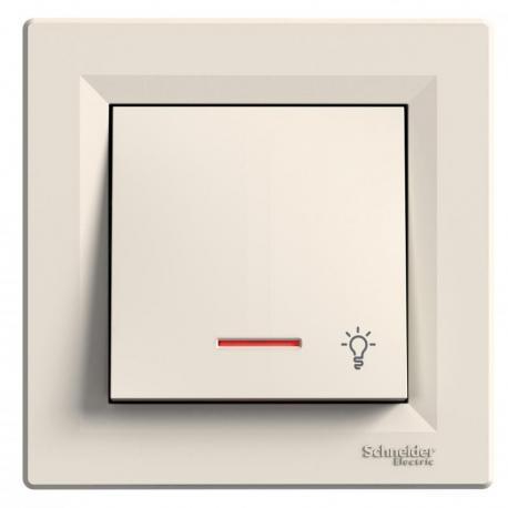 Asfora - Przycisk światło z podświetleniem krem