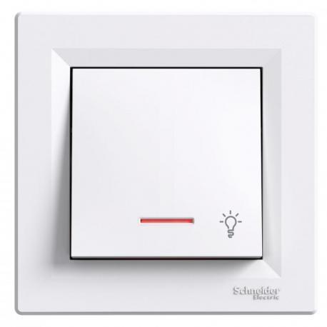 Asfora - Przycisk światło z podświetleniem biały