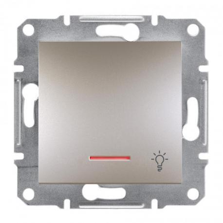 Asfora - Przycisk światło bez ramki z podświetleniem brąz