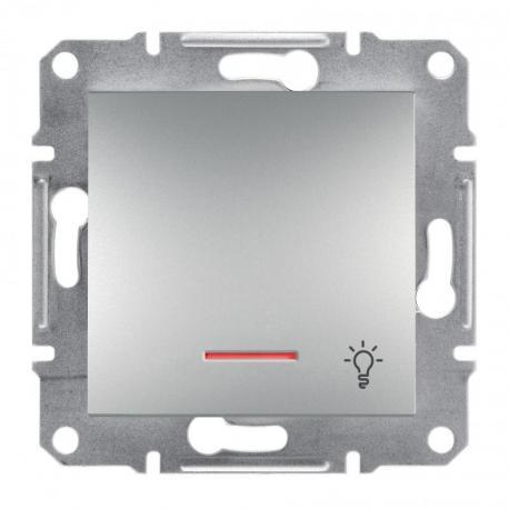 Asfora - Przycisk światło bez ramki z podświetleniem aluminium