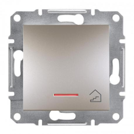 Asfora - Przycisk schody bez ramki z podświetleniem (zaciski śrubowe) brąz