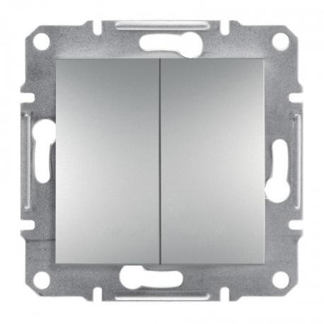 Asfora - Przycisk podwójny bez ramki (zaciski śrubowe) aluminium