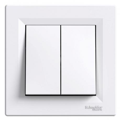 Asfora - Przycisk podwójny (zaciski śrubowe) biały