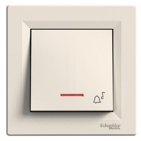 Asfora - Przycisk dzwonek z podświetleniem (zaciski śrubowe) krem