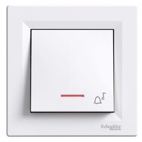 Asfora - Przycisk dzwonek z podświetleniem (zaciski śrubowe) biały