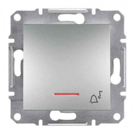 Asfora - Przycisk dzwonek bez ramki z podświetleniem (zaciski śrub.) aluminium