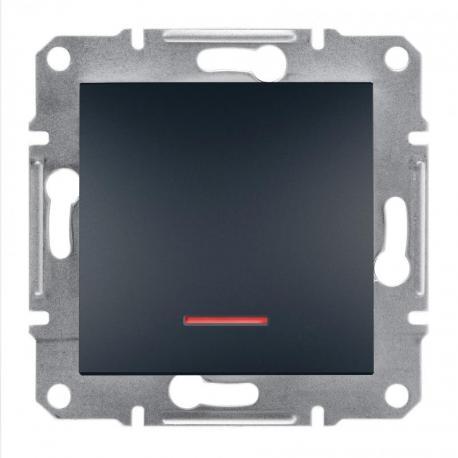 Asfora - Przycisk bez ramki z podświetleniem antracyt