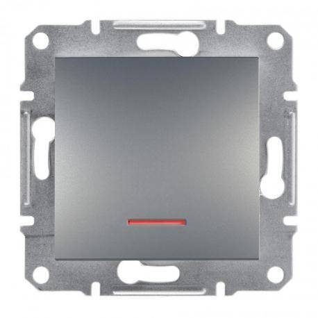 Asfora - Przycisk bez ramki z podświetleniem (zaciski śrubowe) stal