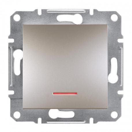 Asfora - Przycisk bez ramki z podświetleniem (zaciski śrubowe) brąz