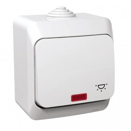 Cedar Plus - Przycisk światło z podświetleniem IP44 biały