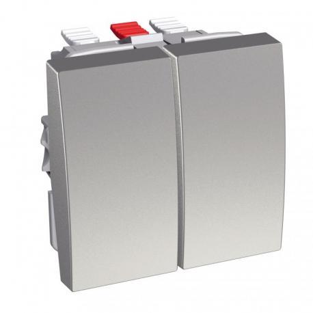 Altira - podwójny przycisk - 10 A - aluminium