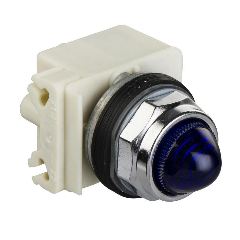 Lampka sygnalizacyjna okrągła 30 - niebieska - żarówka BA9s - 220/240 V AC-IP66